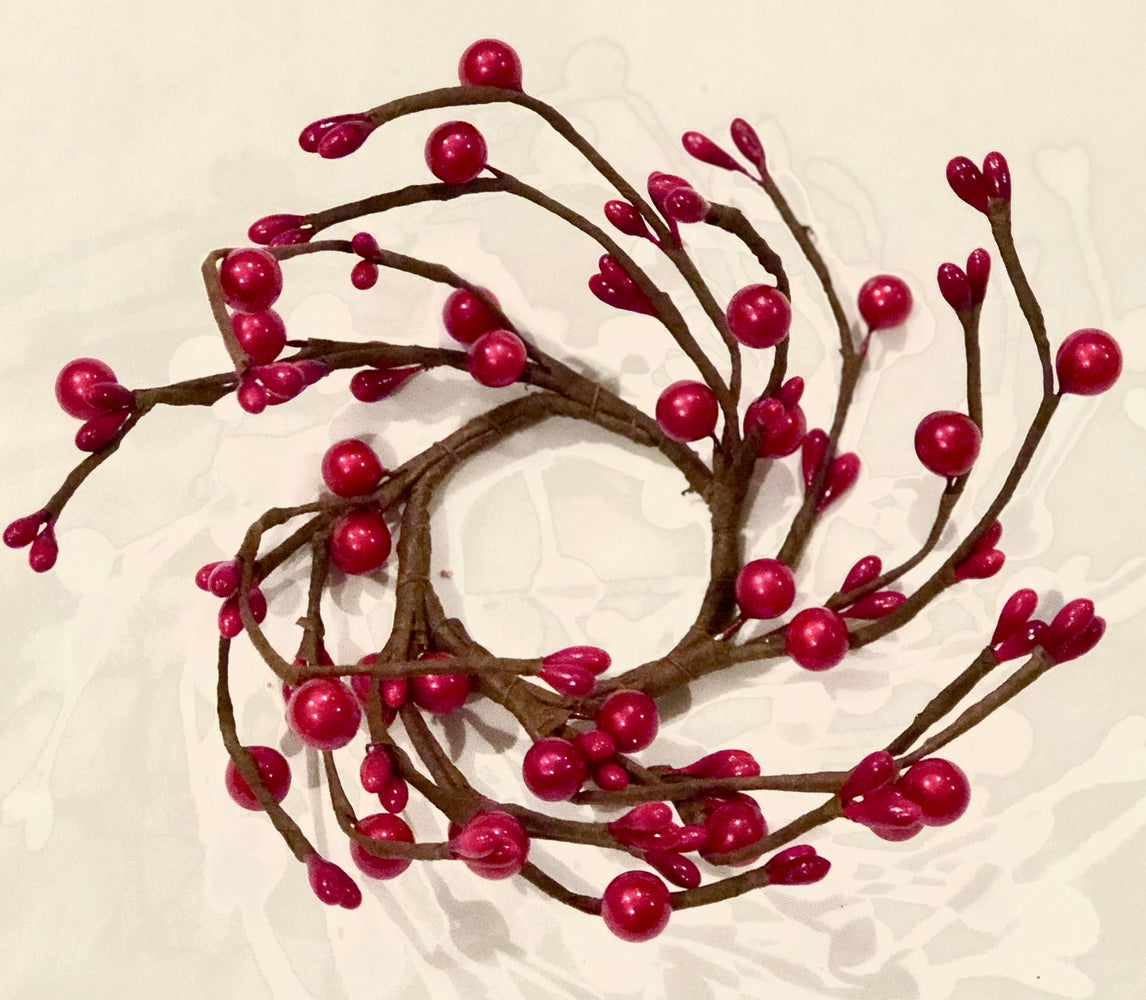 Red berry branch candle ring