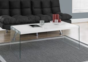 Glossy White Coffee Table with Tempered Glass