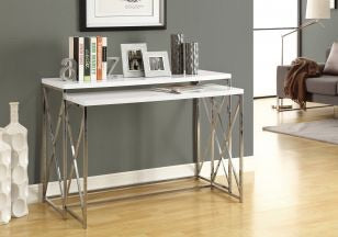 Glossy White Nesting Tables with Chrome Legs