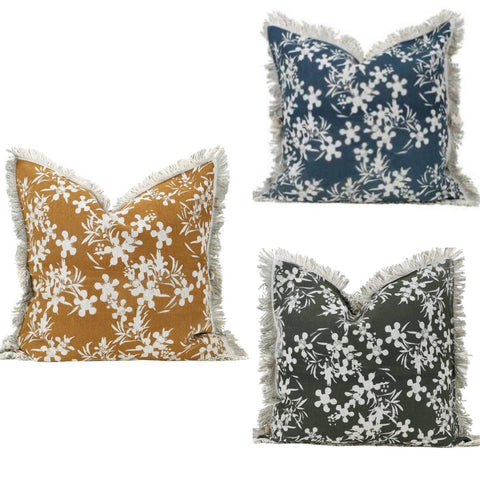 Myrtle Print Mustard Pillow Cover