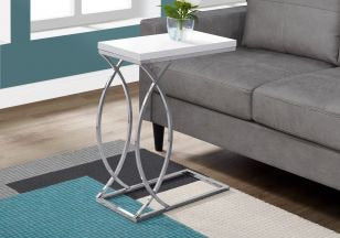 Glossy White Accent Table with Chrome