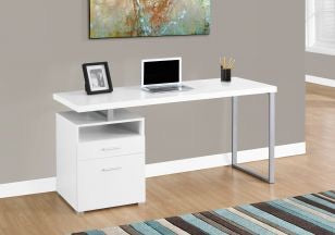 "60"" White Tiered Desk with Silver Metal"
