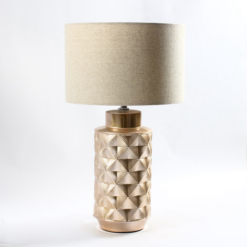Brass Plated Textured Ceramic Lamp