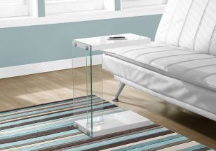 White Glossy Accent Table with Tempered Glass