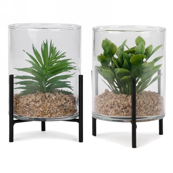 Plant in glass jar on metal base