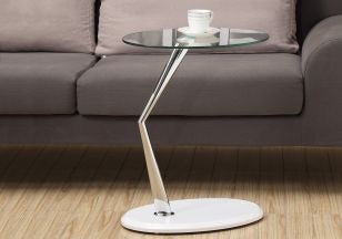 Glossy White Accent Table Chrome Leg Glass Top