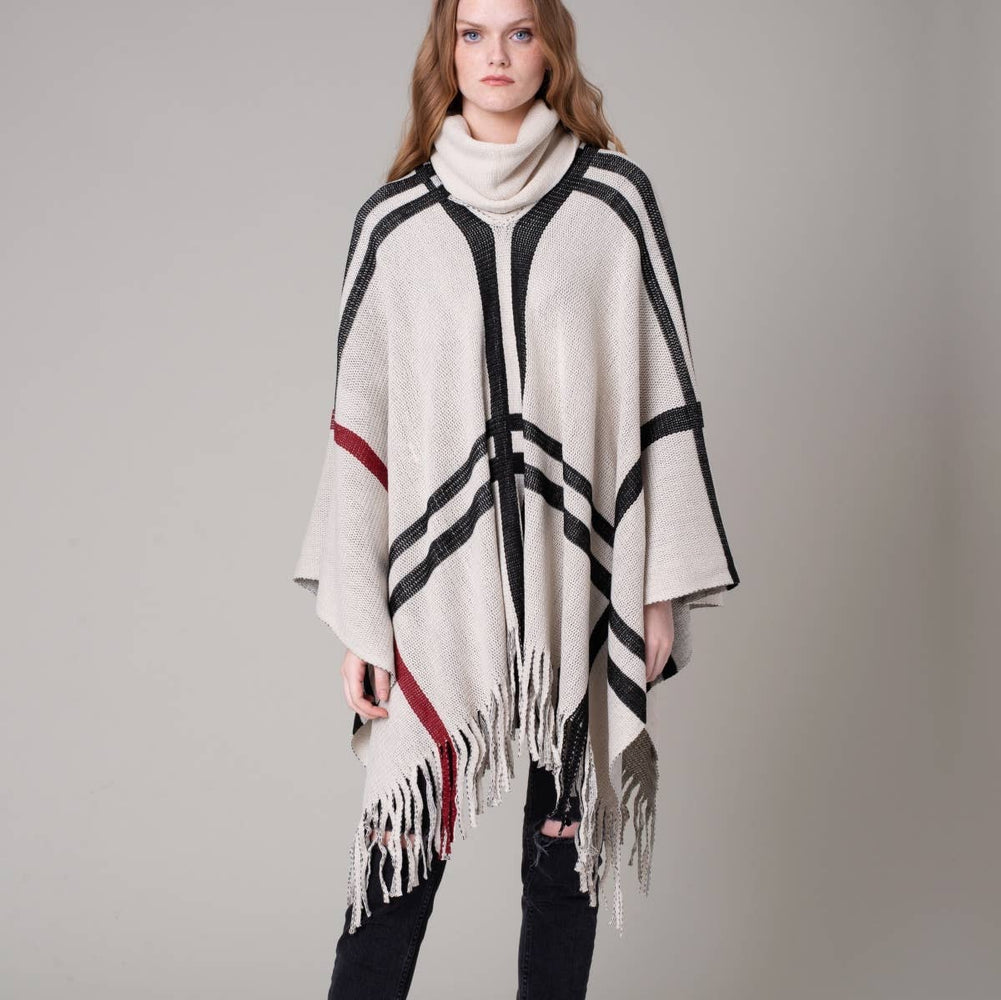 Stripe Print Fringed Turtleneck Poncho