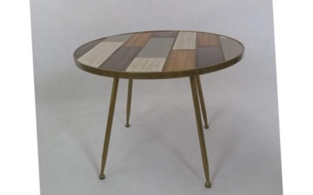 4 Legged Golden Table with Wooden Inlay