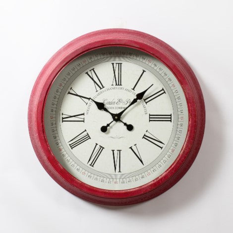 Metal Red Round Wall Clock