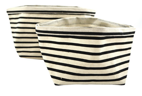 Stripes/Linen Finish Storage Sacks - Set of 2