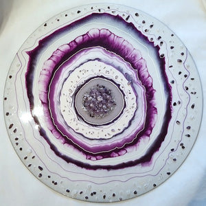 Amethyst & Crystal Quartz Geode Style Abstract Wall Art
