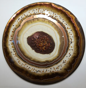 Baltic Amber & Garnet Geode Style Abstract Art