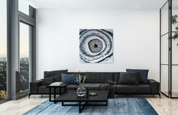 Obsidian & Selenite & Quartz Geode Style Abstract Wall Art