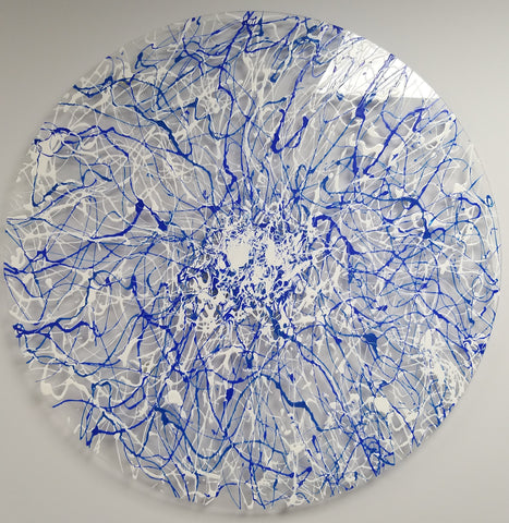 Blue Web - Made to Order - Weatherproof Circular Plexiglass Abstract Art 70cm