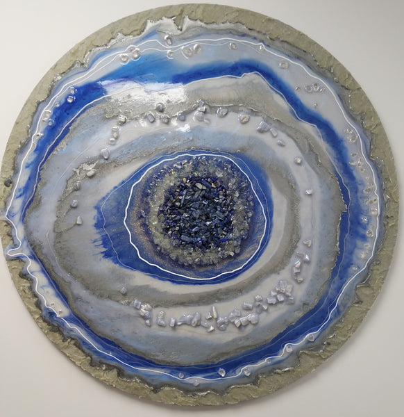 Lapis Lazuli Geode Style Abstract Wall Art