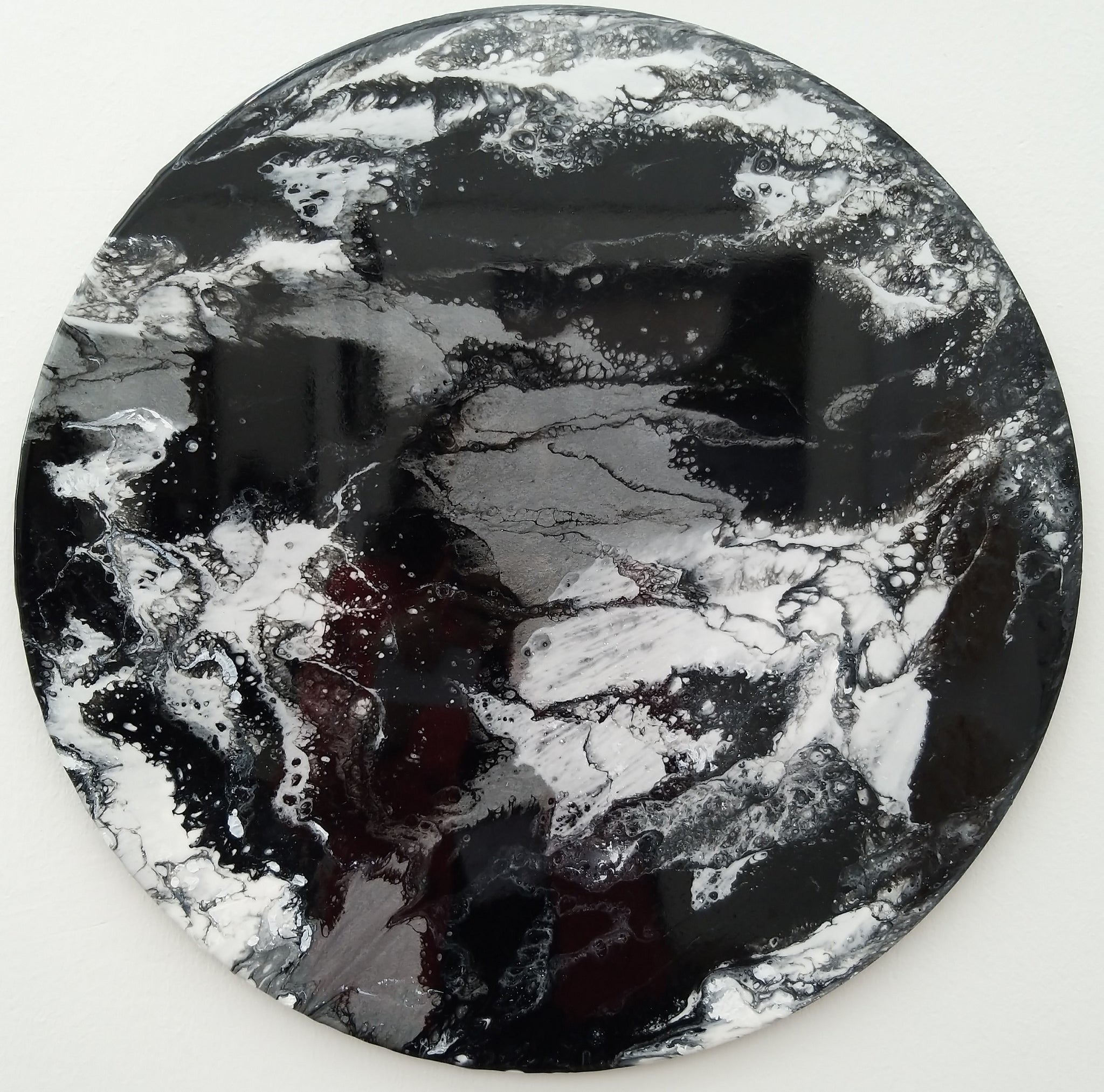 Lunar - Monochrome Circular Abstract Wall Art 50cm