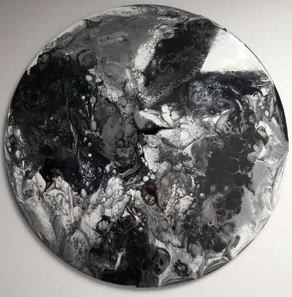 Lunar - Monochrome Circular Abstract Wall Art 70cm