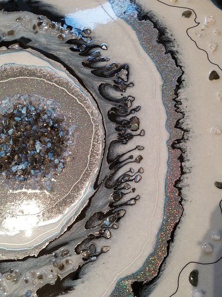 Opal & Grey Moonstone & Crystal Quartz Geode Style Abstract Wall Art