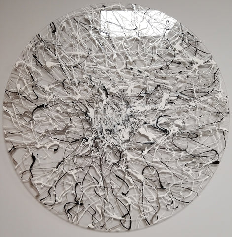 Silver Web - Circular Plexiglass Abstract Art 70cm