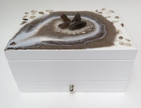 Smokey Quartz Jewellery / Trinket  Storage box