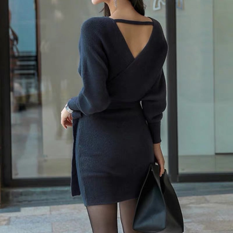 Sexy back Sweater Dress