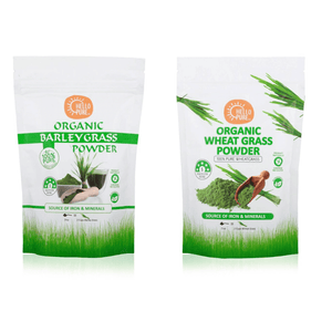 Superfood Green Bundle - Barley Grass Powder Organic and Wheat Grass Powder - 100g