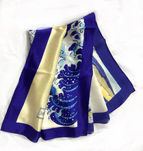 Load image into Gallery viewer, The Great Wave Off Kanagawa - Japanese - 100% Pure Silk Square Scarf
