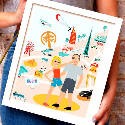 Whimsical Dubai Map Family Portrait (PERSONALISED)