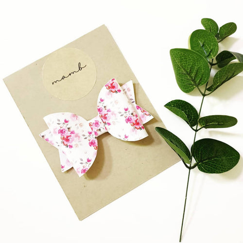 Flower Blooms Leatherette Bow