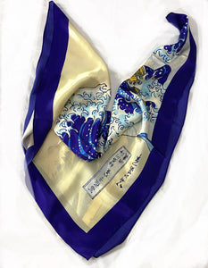 The Great Wave Off Kanagawa - Japanese - 100% Pure Silk Square Scarf