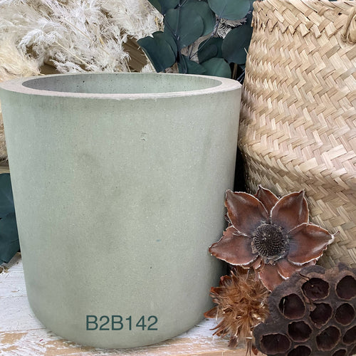 Green Cylinder Shaped Cement Planter 20 cm h x 21 cm W