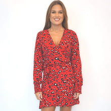 Load image into Gallery viewer, The Flirty Wrap Dress - Elastic Cuff Sleeve - Red Animal - Short