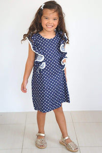 The Little Fifi Ruffle Dress - Navy White Stars