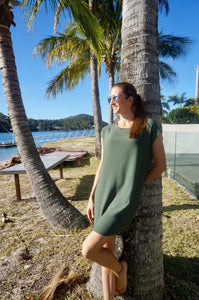 Classic Shift Dress (Longer Length) - Khaki