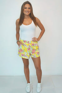 The Chill Shorts - Yellow Summer Floral