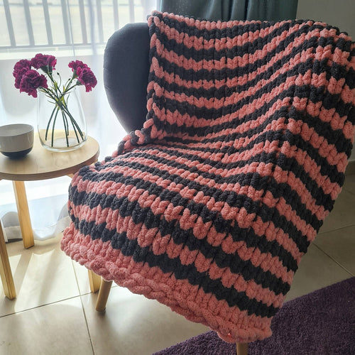 Hand Knit Monochrome Blanket - Blush & White