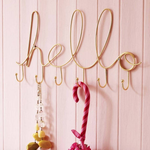 'Hello' Wire Wall Hook