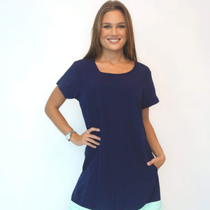 The Anywhere Dress - Navy, Aqua Colour Block .x.
