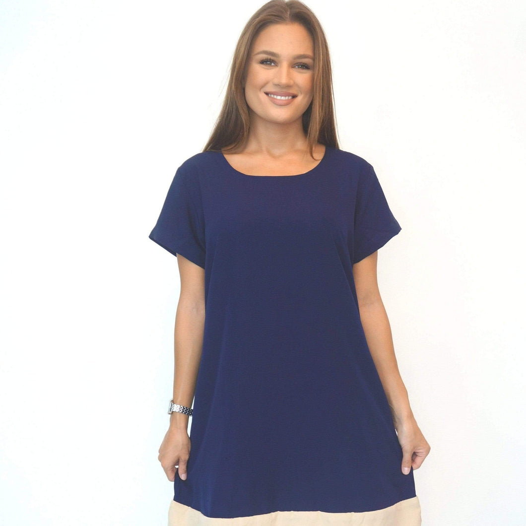 The Anywhere Dress - Perfect Navy, Nude Colour Block
