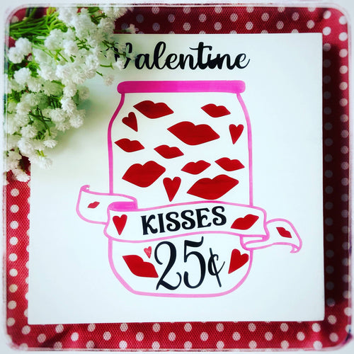 Valentine kisses wood sign