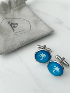 Palm Tree Cufflinks - Turquoise