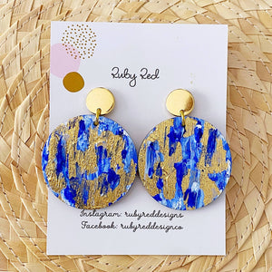 Blue abstract gold foil earrings