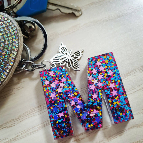 Shine bright Purple Letter keychain