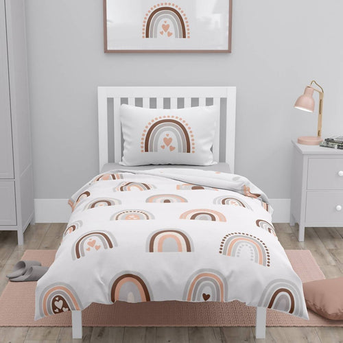 Double Sided Duvet Cover Set - Rainbow/Circles (full size bed)
