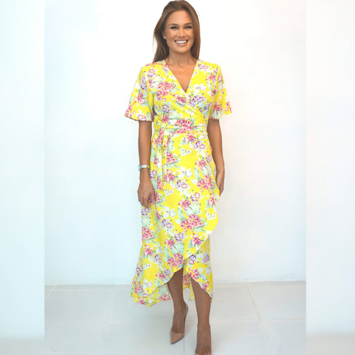 The Wrap Dress w/ Mid Sleeve- Summer Yellow Floral - Long