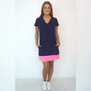 The V Neck Mini Anywhere - Navy Blue w/ Neon Pink Colour Block