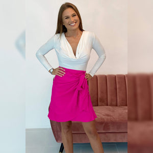 The Ruffle Wrap Skirt - Hot Pink