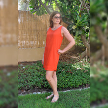 Load image into Gallery viewer, Sleeveless Shift Dress (Longer length) - Orange
