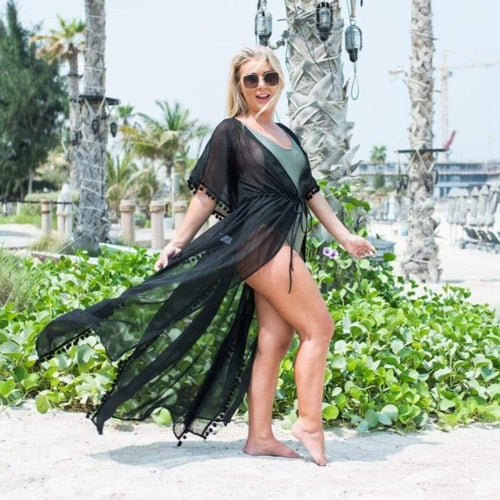 The Long Beach Kimono - Black Chiffon