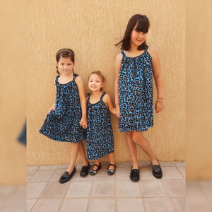 Classic Easy dress girls - Blue Animal